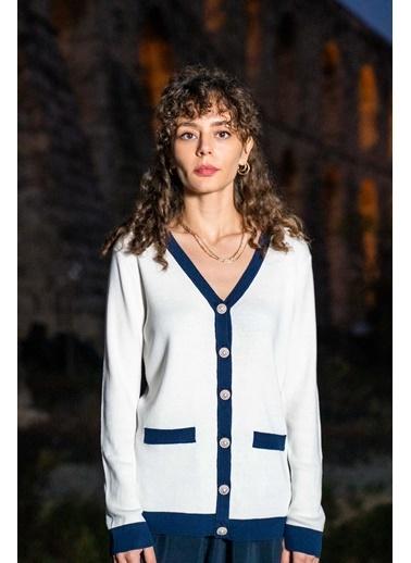 Silk and Cashmere İpek Karışımlı Mercur Uzun Kollu Hırka Ekru